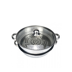 Xửng hấp 2 tầng inox 304 dùng cho bếp ga, bếp từ (33cm)
