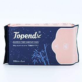 Combo 3 Băng Vệ Sinh Vải Sợi Tre Kháng Khuẩn Topend Ban đêm 335mm - 3 miếng/gói - Kháng khuẩn tối đa, chống viêm, chống mùi, mềm mại