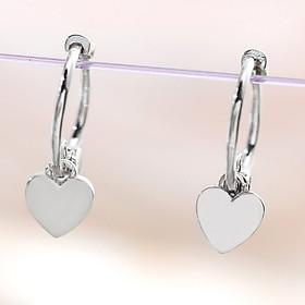 Bông Tai Nữ | Bông Tai Nữ Bạc Khuyên Tròn Đính Tim Đơn Giản B2362 - Bảo Ngọc Jewelry
