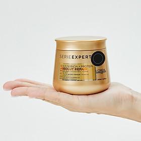 Hấp dầu nhũ vàng phục hồi tóc hư tổn nặng L'ORÉAL Serie Expert Gold Quinoa + Protein Absolut Repair Golden Masque Lightweight Touch 250ml-4
