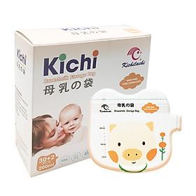 Hộp 32 Túi trữ sữa Kichilachi 200ml chất liệu an toàn không BPA, Có vòi rót , 2 khóa ziper