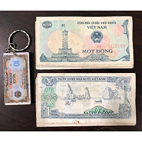 Tiền cổ Việt Nam,tờ 1 đồng 1985 (kèm móc khóa hình tiền xưa)