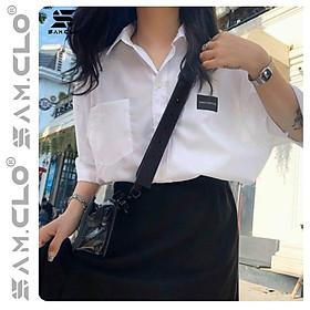 Áo SƠ MI NỮ form rộng cổ bẻ tay lỡ có túi dáng ulzzang freesize unisex thêu LOGO ĐEN 20 INCH màu trắng