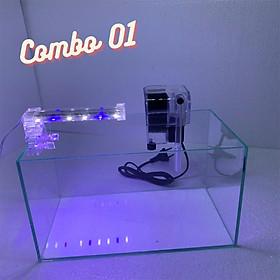 Bể cá mini để bàn COMBO tiểu cảnh có đèn led và lọc nước sobo 303H tạo oxi cho cá