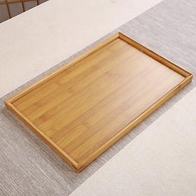 Khay trà bằng gỗ tre phong cách Nhật Bản cao cấp Khay để bàn trà decor kiểu dáng hình chữ nhật 33cm - Hàng chính hãng