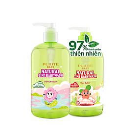 [Hàng Chính Hãng] Combo Sữa Tắm Gội Purite Baby Hoa Anh Đào 500ml & Bơ đậu mỡ 500ml