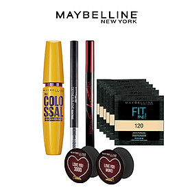 Bộ sản phẩm trang điểm mắt Maybelline (Kẻ mắt HSPower,Kẻ mày Define,Mascara Colossal,sachet Fit me x 6,pop socker x2)