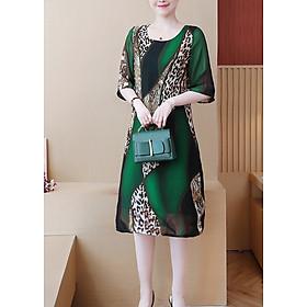Đầm suông bigsize kiểu đầm suông trung niên in họa tiết da...