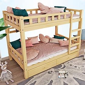 Giường tầng gỗ thông cho bé cao cấp kích thước 100x190x160cm