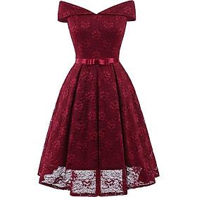 Đầm Dự Tiệc Ren Hở Vai Chân Váy Xòe