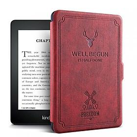 Combo Máy Đọc Sách Kindle Paperwhite Gen 10th (8GB - Màu Đen) và Bao da WELL BEGUN Màu Đỏ Đô - Hàng Chính Hãng
