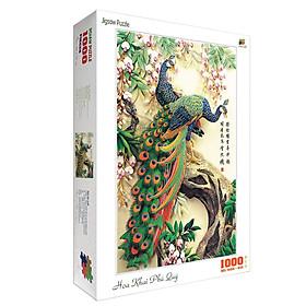 Bộ tranh xếp hình jigsaw puzzle cao cấp 1000 mảnh ghép – Hoa Khai Phú Quý