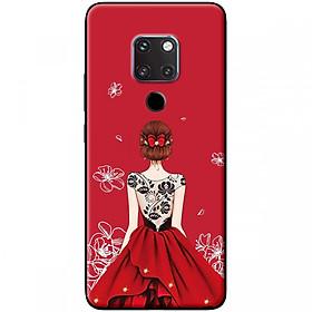 Hình đại diện sản phẩm Ốp lưng dành cho điện thoại Huawei Mate 20 Mẫu Cô gái váy đỏ áo đen