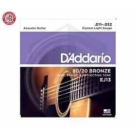Bộ dây đàn acoustic guitar cao cấp D'Addario EJ13 Custom Light Gauge 80/20 Bronze .011 - .052 - Hàng chính hãng