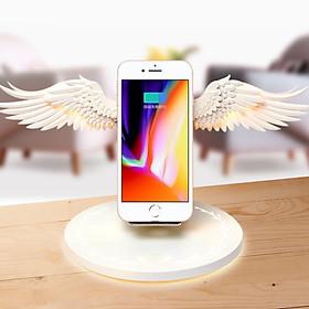 Bộ đế sạc nhanh không dây angel wings 10W có thể làm đèn ngủ - hàng chính hãng