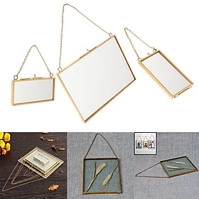 3pack Creative Clear Glass Picture Frame Display Frames W/ Hook & Chain