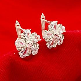 Bông tai nữ Bạc Quang Thản khóa bậtt đeo sát tai đính đá giọt nước cao cấp chất liệu bạc thật không xi mạ – QTBT102