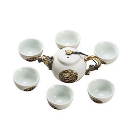 Bộ bình trà Rồng vàng chất liệu bột đá và men tráng sứ DGR005YL