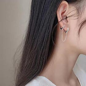 Khuyên tai bạc nữ vòng tròn đeo 2 lỗ