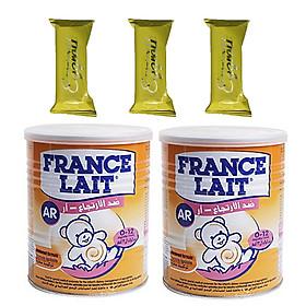 Combo 2 hộp Sữa bột France Lait AR 400g – Tăng cường miễn dịch, giải pháp hiệu quả giúp cải thiện triệu chứng nôn trớ, trào ngược và đầy bụng cho trẻ từ 0-12 tháng tuổi – Tặng 03 bánh Quế cuộn vị trứng muối