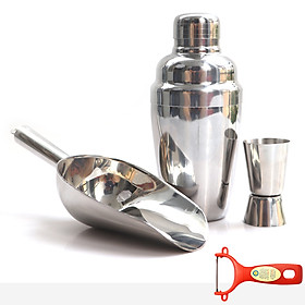Combo bình lắc, dụng cụ xúc đá và ly đong định lượng inox cao cấp tặng Dao bào nhựa đỏ BLX01 – Dụng cụ pha chế
