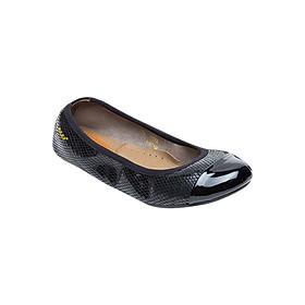 Giày Búp Bê Da Thật Vân Da Rắn Viền Thun Sulily B01-II17DEN