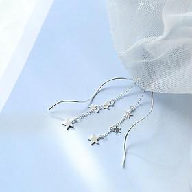 Bông tai bạc nữ thả ba sao khuyên tai nữ phong cách Hàn Quốc