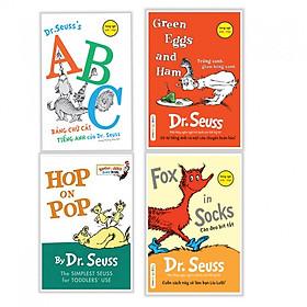 Combo sách thiếu nhi hay : ABC bảng chữ cái tiếng anh của Dr.Seuss + Green eggs and Ham + Hop on Pop + Fox in sock- Tặng kèm bookmark thiết kế