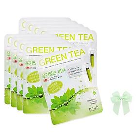 10 gói đắp mặt nạ trà xanh Green  Tea Dabo hàn quốc (22ml.gói) và nơ