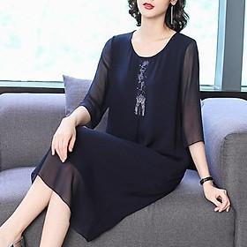 ( HÀNG SẴN) Váy Đầm Nữ Trung Niên Dáng Suông Thời Trang - Hàng Quảng Châu Cao Cấp(Ảnh thật cuối hình)