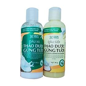 Bộ dầu gội thảo dược gừng dừa Cocayhoala trị gàu trị rung tóc kích thích mọc tóc làm mềm mượt phục hồi hư tổn dung tích 90g/chai