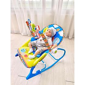 Ghế rung, Ghế nhún dành cho Bé từ sơ sinh đến 18kg, có phát nhạc kích thích sự phát triển não bộ của trẻ màu Xanh