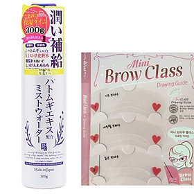 Combo 1 xịt khoáng trắng da chiết xuất mầm lúa mạch Nhật Bản ( 300g - VỎ TÍM) + 1 khuôn mày ( 3 khuôn)