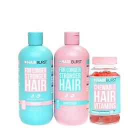 Combo set gội xả + kẹo dẻo Chewable HAIRBURST kích thích mọc tóc, chắc khỏe 350ml/chai + 60v/lọ