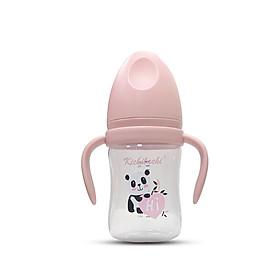 Bình sữa Kichilachi 180 ml chất liệu PP an toàn, Cổ rộng có quai cầm tháo được