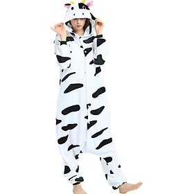 Bộ đồ ngủ hình thú bò sữa 1907 liền thân lông mịn Pijama Động Vật Hoạt Hình cho trẻ em người lớn Cosplay