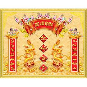 Tranh dán tường 3D phòng thờ cửu huyền thất tổ - tranh cuốn thư Đức Lưu Quang- tranh trang trí phòng thờ- vải lụa