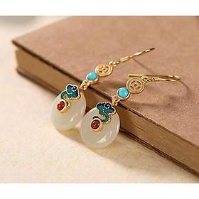 Bông Tai Nữ Ngọc Bích Trắng Phong Cách Cổ Trang BT181