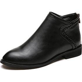 Boot cổ ngắn mũi nhọn màu đen THỜI THƯỢNG GBN9101
