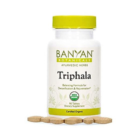 Banyan Botanicals Triphala Tablets - Organic Triphala Supplement with Amla, Haritaki & Bibhitaki – for Daily Detoxifying, Cleansing, Rejuvenating* – 90 Tablets – Non-GMO Sustainably Sourced Vegan - 90