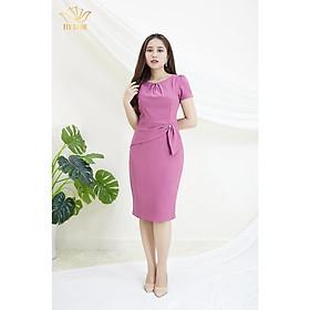 Đầm Thiết kế Đầm xòe Đầm thời trang công sở Đầm trung niên thương hiệu TTV338 hồng ruốc - Đầm ôm cổ xếp ly eo đính ngọc AH
