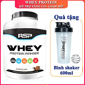 Combo Sữa tăng cơ giảm mỡ Whey Protein Powder của RSP hương Chocolate hộp 51 lần dùng hỗ trợ tăng cơ, phục hồi và phát triển cơ bắp & Bình lắc 600ml (Mẫu ngẫu nhiên)