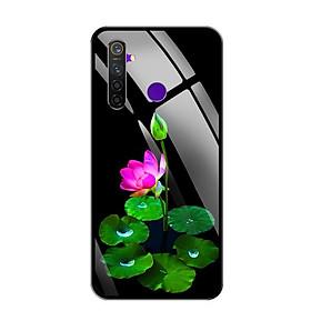 Ốp lưng kính cường lực cho điện thoại Realme 5 Pro - 0296 LOTUS02 - Hàng Chính Hãng