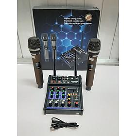 Bàn Mixer G4 live stream được hỗ trợ màn hình LED có bluetooth kiêm 2 mic không dây tiện cho oto loa kéo và các loa khác