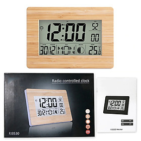 Atomic Clock LCD Digital Calendar Alarm Day Clock Dual Alarm Color with Snooze Big Size Number Multifunction Temperature