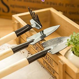 Bộ 3 dụng cụ làm vườn mini cán gỗ tiện lợi siêu cute