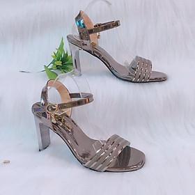 Giày cao gót nữ/ Sandal Cao Gót Nữ Hở Mũi Da Bóng Phối Đường Kim Tuyến Xen Kẽ Quai Cài Ngang Đẹp Phong Cách Hàn Quốc 9 Cm, 9 Phân Đế Cao Chữ Nhật CGPN095-YN121