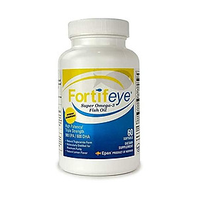 Fortifeye Vitamins Super Omega 3 Fish Oil, Natural Triglyceride Form Omega-3 Supplement, Triple Strength 860 EPA + 580 DHA Per Serving, 60 Softgel Capsules