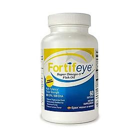 Fortifeye Vitamins Super Omega 3 Fish Oil, Natural Triglyceride Form Omega-3 Supplement, Triple Strength 860 EPA + 580 DHA Per Serving, 60 Softgel Capsules