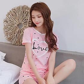 Bộ Đồ Ngủ Nữ Cotton Đồ Mặc Nhà Kiểu Dáng Hàn Quốc